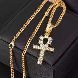 Iced Out Ankh Cross Necklace WITH Chain